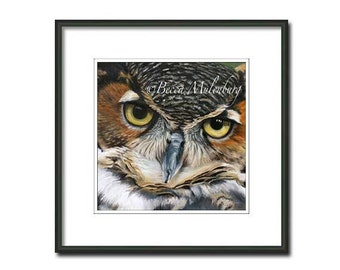 Great-horned Owl art PRINT wildlife nature birds of prey raptor