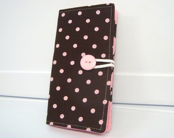 12 Slot Loyalty Card Organizer Holder,  Business Card,Gift Card Wallet - Brown With Pink Dots