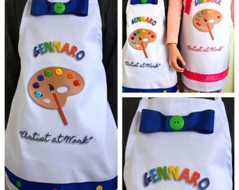 Brother and Sister Set Matching Personalized Art Painting Pottery Party Work of Art Aprons with Buttons and Gems