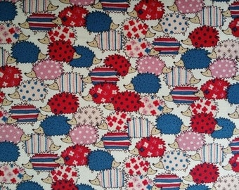 HALF Yard colorful hedgehog japanese fabric from cosmo