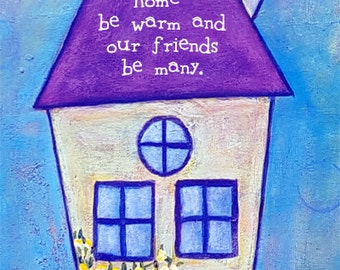Wonky House Art Purple Door Wedding Gift Housewarming Home Decor