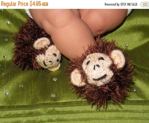 HALF PRICE SALE Digital File pdf download knitting pattern -madmonkeyknits Baby Monkey Boots Animal Booties Bootees pdf download knitting pa