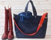 Waxed Canvas Tote, Carry all, Diaper bag  / Messenger bag / Weekender /Work bag /Men messenger /Travel bag /Zipper and 5 Pockets/Waterproof