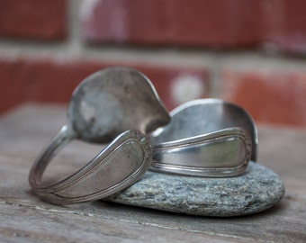 Two Silver Plated Cuff Spoon Bracelets Handmade Jewelry