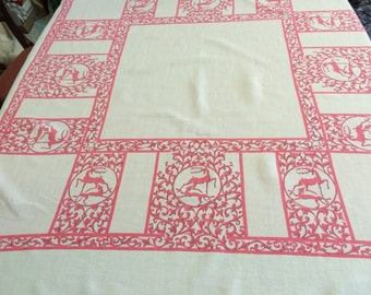 Vintage Mid Century Tablecloth 1950s  DEER and HOUND DOG Deco Hunting Coral Pink Linen Scroll and Vines