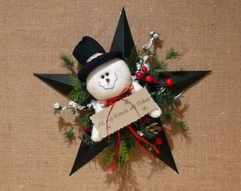 All My Friends Are Flakes Snowman on Barn Star Wall Hanging Wreath