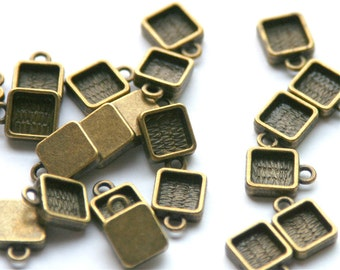 Square Bezel setting - antiqued bronze color, 9mm (6mm int), qty 20+.  For charm bracelets, earrings, initial charms. resin Jewelry supplies