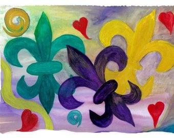 Mardi Gras Fleur de lis Throw Blanket from my original art