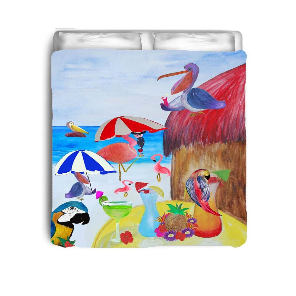 Beach Party Birds Tiki Bar Bedding Comforters Duvet Covers