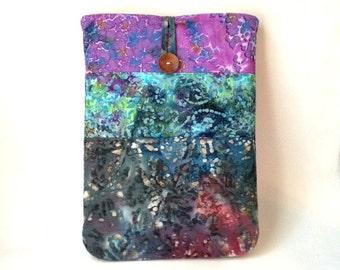 Batik MacBook Air Case, 13 .3 inch Purple Laptop Bag, Mac Book Air 13 Retina Sleeve, Hand Dyed Boho Fabric Cover Pouch Sac Violet Blue Green