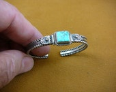 vintage Turquoise and sterling silver child children's size cuff dangle bracelet Native worked signed Zuni jewelry CJ-10