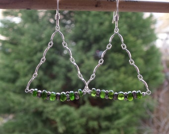 Genuine Rare Chrome Diopside Fine Silver Gemstone Earrings