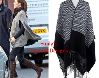 Duchess of Cambridge Kate Middleton Black and White Poncho Cape