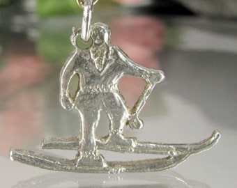 Vintage BMCO SNOW SKIER Sterling Charm Figural Silver Pendant