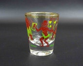 Vintage 1950's Shot Glass with Black Face Tribespeople Theme