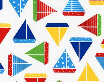 Ann Kelle Sea and Sun Sailboats Regatta Robert Kaufman Fabric, Choose your cut
