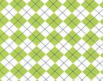 Remix Argyle Lime Green Robert Kaufman Fabric, Choose your cut