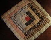 "Antique Early 1900 Log Cabin Quilt Block ~ 10""x 10"" Lancaster PA"