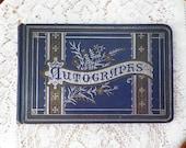 Beautiful Antique / Vintage Paragon Autograph Album, 1880's, Poems, Signatures, Sapphire Blue, Silver Gilt, Floral / Flowers, Victorian