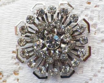 Vintage Sparkling Clear Rhinestone Brooch / Pin / Broach, Rhinestones, Silver Tone Metal, Bride / Bridal