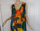 Cubist Faces Dress- 80s / 90s Tank Dress in Jewel Tones- Graffiti- Plus Size Swing Dress