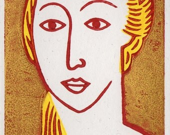 A Lady. Linocut Greeting Card