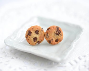 Scented Extra Chunky Chocolate Chip Cookie Stud Earrings Polymer Clay Cookie Food jewelry