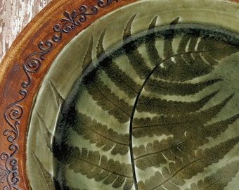 Large Pottery Plate with Fern Leaf - Ceramic Charger -  Handbuilt Pottery Serving Plate - Green Brown - 667
