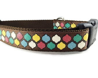 Dog Collar, Quatrefoil, 1 inch wide, adjustable, quick release, metal buckle, chain, martingale, hybrid, nylon