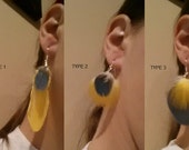 Real Blue and Gold Macaw Feather Earrings