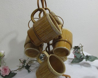 6 Mugs with Tree Hanger 1970s Gold
