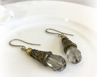 Smokey Glass Earrings - NeoVictorian Earrings - Art Deco Earrings - Neutral Earrings - Bridal Earrings - Vintage Earrings - Downton Earrings