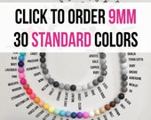 10 - 9 mm Silicone Beads - Seamless Silicone Beads in 86 Colors - 30 Standard Colors