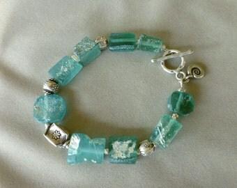 Ancient Roman Glass and Thai Silver Bracelet