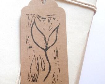 Set of 5 Leaf Shoot Lino Print Gift Tags