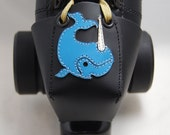 Leather Toe Guards with Blue Narwhals (OR choose a different color!)