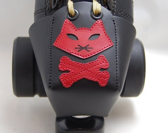 Leather Toe Guards with Red Pirate Cats--OR Choose Another Color!