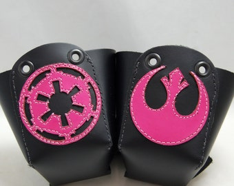 Leather Skate Toe Guards with Pink Galactic Empire and Rebel Alliance Symbols