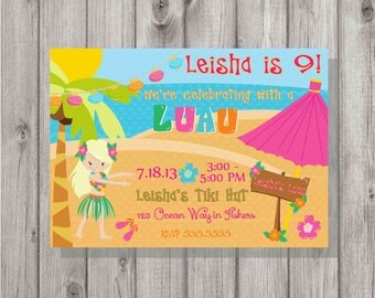 Digital Hula Luau Blonde Girl Beach Birthday Party Invitation Printable Print Your Own