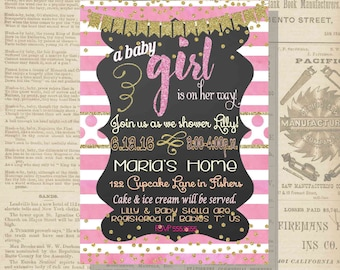 Digital Chalkboard Pink and Gold Glittery Baby Girl Shower Invitation Personalized Printable