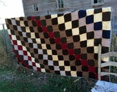 """Antique Patchwork Quilt Wool Flannel Rustic and Primitive Cutter or use 81x64"""""""