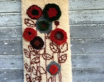 Vintage Retro COMPLETED Latch Hook Rug Wall Art Hanging Modern abstract Flowers