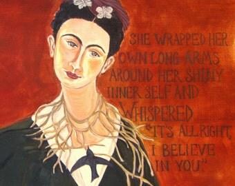 """Frida Kahlo Card Art Card """"Believing!"""""""