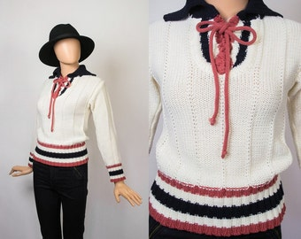 Vintage 70s Cable Knit Sweater / 1970s Lace Up Ties Knit Top / Cozy / 70s Hippie Boho Sailor / Ribbed / White / Extra Small / Small