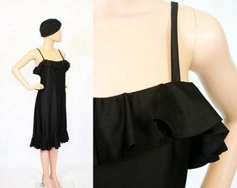 Vintage 70s Black Ruffle Dress / Party Cocktail Dress / 1970s Studio 54 Flapper Dress / Small / Medium