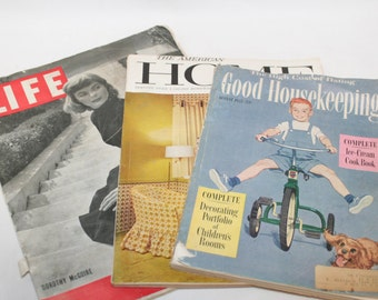 Life, American Home, and Good Housekeeping Magazines, Mid Century Advertising, History, Paper Arts, Mixed Media, Paper Fodder