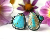 RESERVED - The Two Sides of Serenity - Turquoise Sterling Silver Ring
