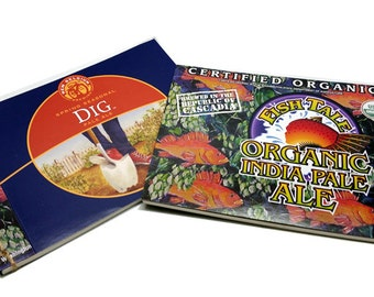 Organic Beer Garden--Recycled Beer Journal, New Belgium Dig Pale Ale & Fishtale IPA, Upcycled, Blue, Red, USDA Certified Organic, Olympia