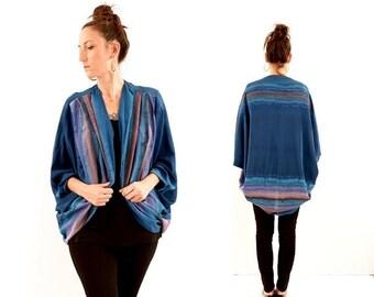 FLASH SALE vintage boho HAND Painted silk Shrug blouse // one size