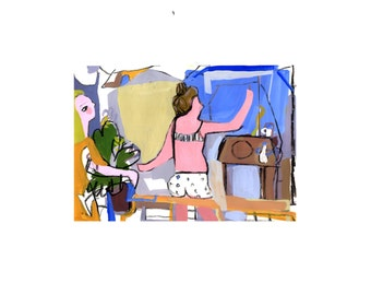 SALE House cleaning day- original small mixed media drawing- gouache